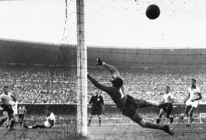 Sport. Football.World Cup Final, 1950. Brazil. Maracana Stadium, Rio De Janeiro. Brazil 1 v Uruguay 2. 16th July, 1950. Uruguay's Ghiggia scores the winning goal past the dive of Brazilian goakeeper Barbosa to win the World Cup for Uruguay and complete a